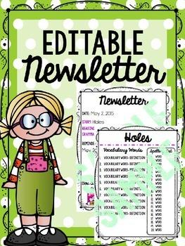 Editable Language Arts Newsletter Template