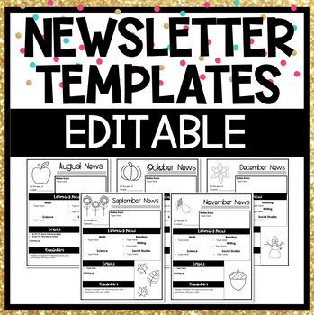 editable newsletter template by fifth grade fab tpt