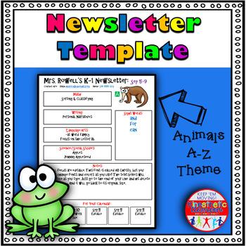 Editable Newsletter Template - Alphabet Animal Themed