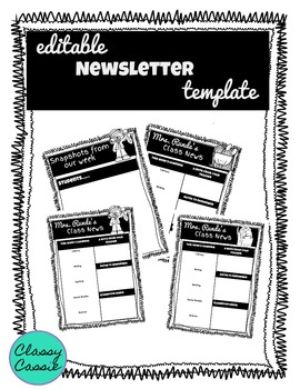 Editable Newsletter Template: Black and White