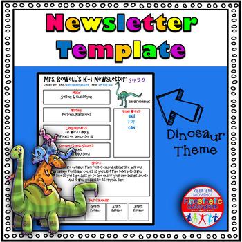 Editable Newsletter Template - Dinosaur Themed