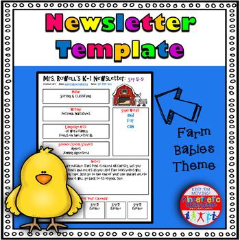 Editable Newsletter Template - Farm Baby Themed