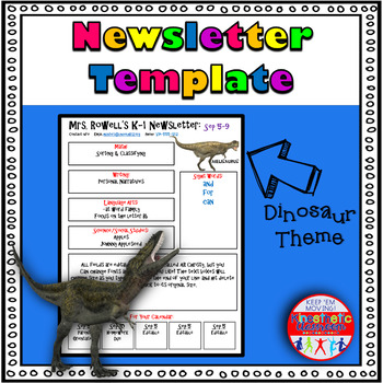 Editable Newsletter Template - Realistic Dinosaur Themed