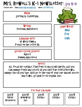 Editable Newsletter Template - Frog Themed