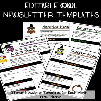Editable Newsletter Template {Owls}