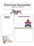 Editable Newsletter Template Preschool Daycare or Elementary