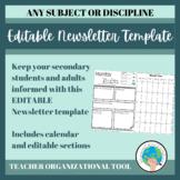 Editable Newsletter Template -- Secondary Organizational Tool