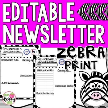 Editable Newsletter Template - Zebra Print