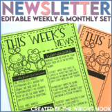 Class Newsletter Templates EDITABLE Monthly and Weekly