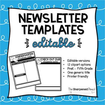 5th grade newsletter template editable teaching resources teachers