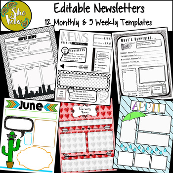 Editable Newsletter Templates- B&W and Color, 12 Monthly, 5 Weekly