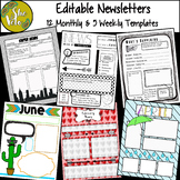 Editable Newsletter Templates- B&W and Color, 12 Monthly,