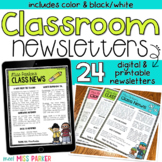 Classroom Newsletter Templates Editable (Digital & Printable)