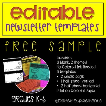 Half Page Newsletter Template Worksheets Teaching