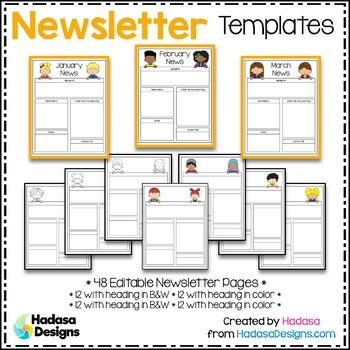 Editable Newsletter Templates - Hadasa's Kids Edition