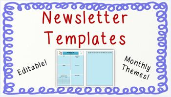 Editable Newsletter Templates FREEBIE {Monthly Themes!}