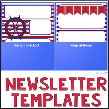 Editable Newsletter Templates, Parent Communication - Nautical Theme