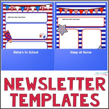 Editable Newsletter Templates, Parent Communication - Patriotic USA Theme