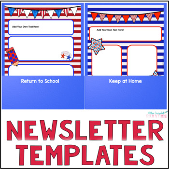 Editable Newsletter Templates, Parent Communication - Patriotic USA Theme