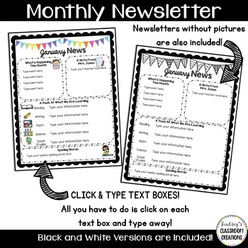 Classroom Newsletter Templates  Color  Black And White  Freebie