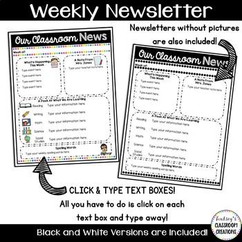 Editable Classroom Newsletter Templates Color Black And White - Black and white newsletter templates