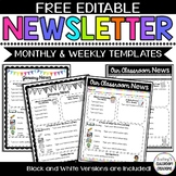 Editable Classroom Newsletter Templates - Color & Black and White ! FREEBIE!