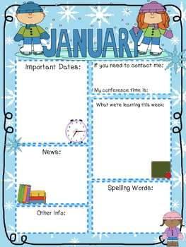 original-472825-4 January Newsletter Template Editable on elementary school, december classroom, parent weekly, downloadable digital, free energy, for student, free community, monthly classroom, google free, owl classroom,