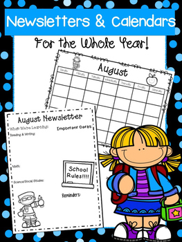 Editable Newsletter and Calendar Templates for the Whole Year!!