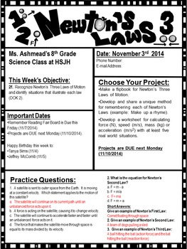 Editable Newsletter and Study Notes:  Newton's Laws of Motion