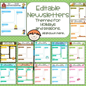 Editable Newsletters for Entire Year - 13 different designs