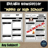 Newsletter for Middle High School Any Subject Editable Science