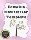 Editable Newsletter for Owl Classroom