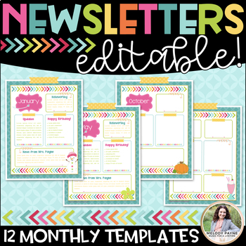 Editable Newsletter Templates: {12 Vibrant and Colorful Monthly Templates}