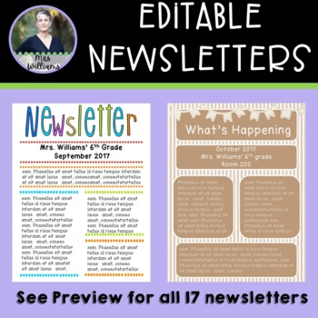 Editable Newsletter Templates - 17 in all