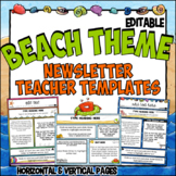 Ocean Theme Teacher Newsletter Templates | Editable | Beach Theme