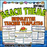 Ocean Theme Teacher Newsletter Templates   Editable   Beach Theme