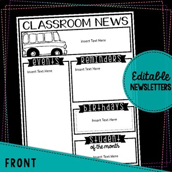 EDITABLE Monthly Themed Newsletters