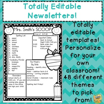 Editable Newsletters - 48 different themes!  Just click and edit your NEWSLETTER