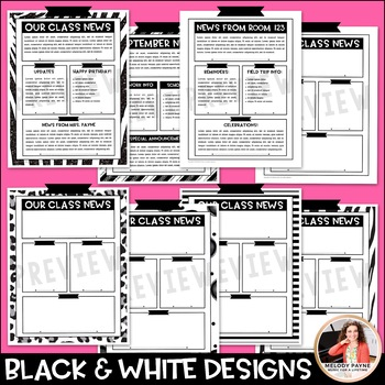 Editable Newsletters: {Black and White Monthly Templates}