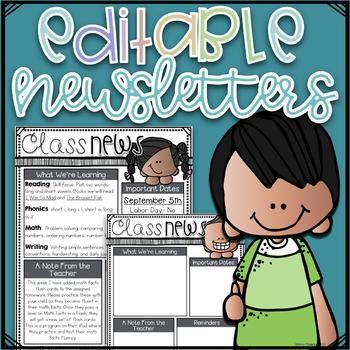 Newsletter Templates EDITABLE~ Kidlette Themes