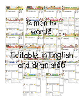 Editable Newsletters, Notes, and Surveys for Parents in English and Spanish