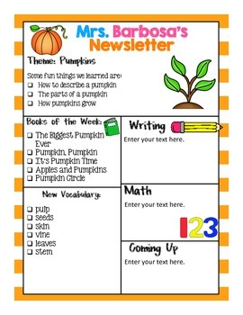 Editable Newsletters- Pumpkin Theme