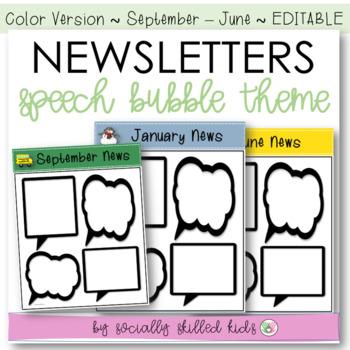Newsletters: Speech Bubble Themed {September-June // Color // Editable}