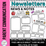 Editable Newsletters and News and Notes for the ENTIRE YEAR