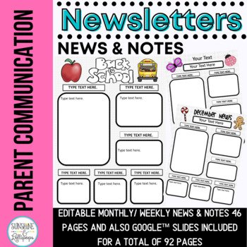 Parent Communication Editable Newsletters and News and Notes for the ENTIRE YEAR