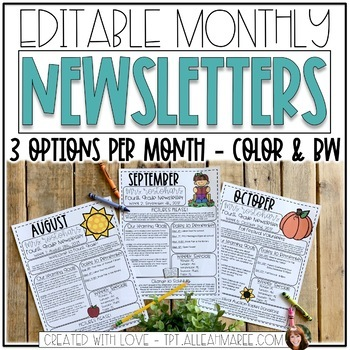 Newsletter Templates Editable Monthly