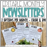 Editable Newsletter Templates {Themed by Month}