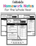 Editable Newsletters or Homework Notes For the Whole Year
