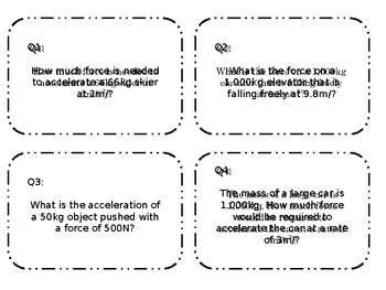 Editable Newton's Second Law Task Card Practice