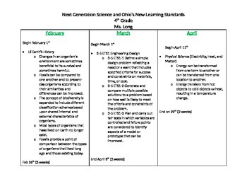 Editable Next Generation Science Standards 4th grade